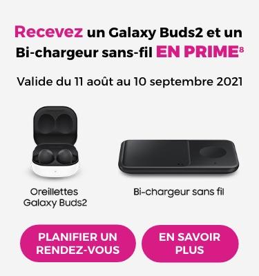 Précommandez et recevez un Galaxy Buds2 et un chargeur sans-fil Duo EN PRIME. Valide du 11 août au 10 septembre 2021. Profitez de l'offre