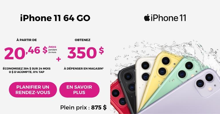 Financement iPhone 11 sur 24 mois à partir de 15 $ par mois. 0 $ d'acompte, 0 % d'intérêt de financement plus un plan tarifaire admissible avec Rogers Infinite ou Bell SmartPay