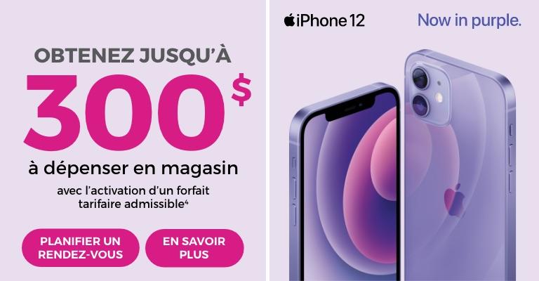 Financement iPhone 12 sur 24 mois à partir de 19,50 $ par mois avec option de retour. 0 $ d'acompte, 0 % d'intérêt de financement plus un plan tarifaire admissible avec le programme Rogers Upfront Edge ou l'option de retour d'appareil de Bell